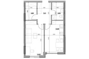 ЖК Голоські кручі: планировка 1-комнатной квартиры 46.02 м²