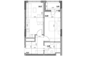 ЖК Голоські кручі: планировка 1-комнатной квартиры 50.92 м²
