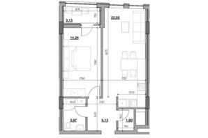 ЖК Голоські кручі: планировка 1-комнатной квартиры 50.42 м²