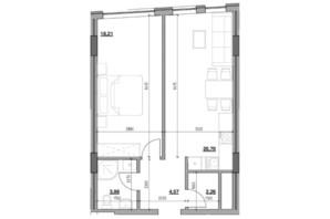 ЖК Голоські кручі: планировка 1-комнатной квартиры 49.72 м²