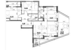 ЖК Голоські кручі: планировка 3-комнатной квартиры 105.01 м²