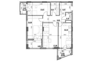 ЖК Голоські кручі: планировка 3-комнатной квартиры 93.37 м²