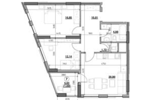 ЖК Голоські кручі: планировка 2-комнатной квартиры 68.19 м²