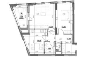 ЖК Голоські кручі: планировка 2-комнатной квартиры 71.65 м²