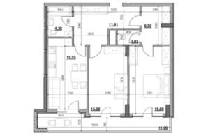 ЖК Голоські кручі: планировка 2-комнатной квартиры 74.69 м²
