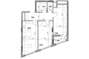 ЖК Голоські кручі: планировка 2-комнатной квартиры 72.27 м²