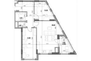 ЖК Голоські кручі: планировка 2-комнатной квартиры 84.35 м²