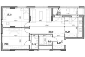 ЖК Голоські кручі: планировка 2-комнатной квартиры 89.95 м²