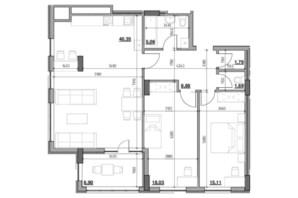 ЖК Голоські кручі: планировка 2-комнатной квартиры 97.81 м²