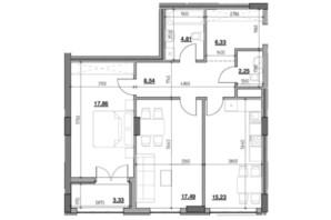 ЖК Голоські кручі: планировка 2-комнатной квартиры 75.84 м²