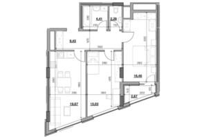 ЖК Голоські кручі: планировка 2-комнатной квартиры 70.18 м²