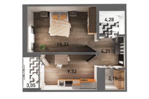 ЖК Ґорґани: планування 1-кімнатної квартири 41.76 м²