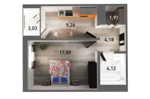 ЖК Ґорґани: планування 1-кімнатної квартири 40.79 м²