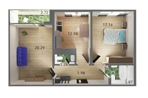 ЖК Ґорґани: планування 2-кімнатної квартири 67.82 м²