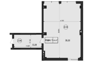 ЖК Горганы: планировка помощения 66.67 м²