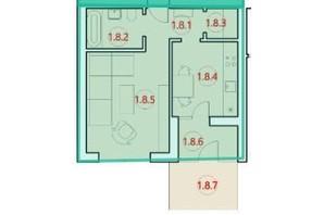 ЖК Горизонт: планировка 1-комнатной квартиры 41.4 м²
