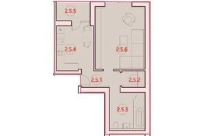 ЖК Горизонт: планировка 1-комнатной квартиры 45.7 м²