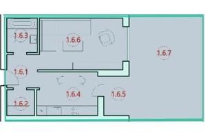ЖК Горизонт: планировка 1-комнатной квартиры 45.1 м²