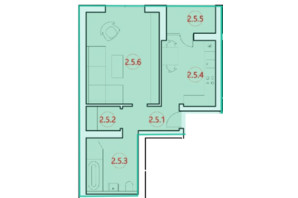 ЖК Горизонт: планировка 1-комнатной квартиры 47.7 м²