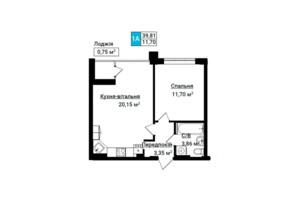 ЖК Гостомель Residence: планування 1-кімнатної квартири 39.97 м²