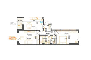 ЖК Гостомель Residence: планування 2-кімнатної квартири 66.96 м²