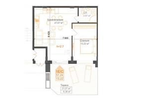 ЖК Гостомель Residence: планування 1-кімнатної квартири 51.24 м²
