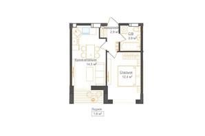 ЖК Гостомель Residence: планування 1-кімнатної квартири 39.35 м²