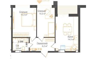 ЖК Гостомель Residence: планування 1-кімнатної квартири 45.6 м²
