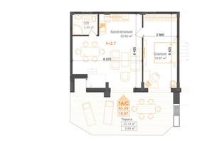 ЖК Гостомель Residence: планування 2-кімнатної квартири 65.49 м²
