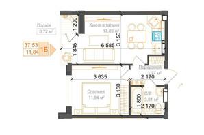 ЖК Гостомель Residence: планування 1-кімнатної квартири 37.53 м²