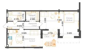 ЖК Гостомель Residence: планування 2-кімнатної квартири 64.32 м²