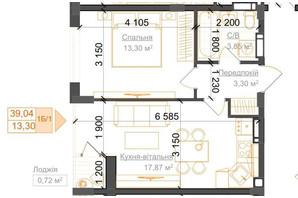 ЖК Гостомель Residence: планування 1-кімнатної квартири 39.04 м²