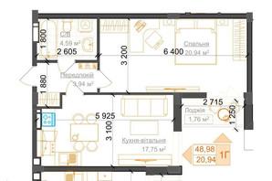 ЖК Гостомель Residence: планування 1-кімнатної квартири 48.3 м²