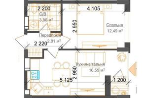 ЖК Гостомель Residence: планування 1-кімнатної квартири 36.46 м²
