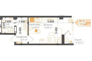 ЖК Гостомель Residence: планування 1-кімнатної квартири 27.27 м²