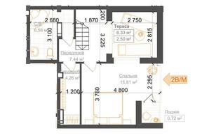 ЖК Гостомель Residence: планування 2-кімнатної квартири 74.71 м²