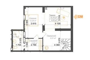 ЖК Гостомель Residence: планування 2-кімнатної квартири 61.55 м²