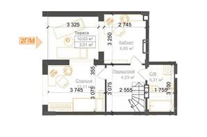 ЖК Гостомель Residence: планування 2-кімнатної квартири 69.64 м²