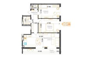 ЖК Гостомель Residence: планування 2-кімнатної квартири 75.23 м²