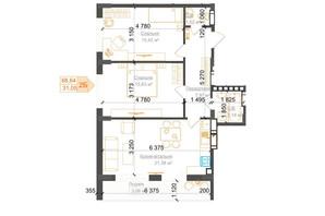 ЖК Гостомель Residence: планування 2-кімнатної квартири 68.64 м²