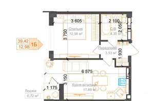 ЖК Гостомель Residence: планування 1-кімнатної квартири 39.42 м²