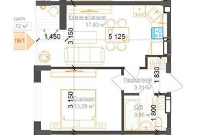 ЖК Гостомель Residence: планування 1-кімнатної квартири 39.01 м²