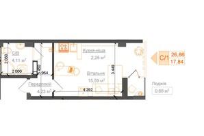 ЖК Гостомель Residence: планування 1-кімнатної квартири 26.86 м²