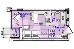 ЖК Гостомель Residence: планування 1-кімнатної квартири 25.36 м²