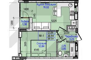 ЖК Гостомель Residence: планування 1-кімнатної квартири 39.59 м²