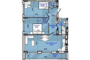 ЖК Гостомель Residence: планування 2-кімнатної квартири 77.37 м²