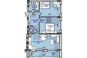 ЖК Гостомель Residence: планування 2-кімнатної квартири 65.23 м²