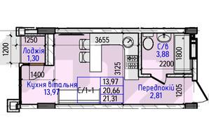 ЖК Гостомель Residence: планування 1-кімнатної квартири 21.31 м²