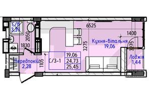 ЖК Гостомель Residence: планування 1-кімнатної квартири 25.45 м²