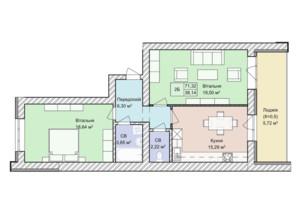 ЖК Гостомель Residence: планування 2-кімнатної квартири 73.7 м²